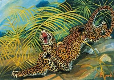 Antonio Ligabue, Leopardo e vedova nera, olio su faesite, cm 65,5x95